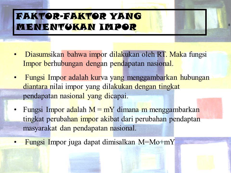 Chapter Five9 ® FAKTOR-FAKTOR YANG MENENTUKAN IMPOR Diasumsikan bahwa impor dilakukan oleh RT. Maka fungsi Impor berhubungan dengan pendapatan nasiona