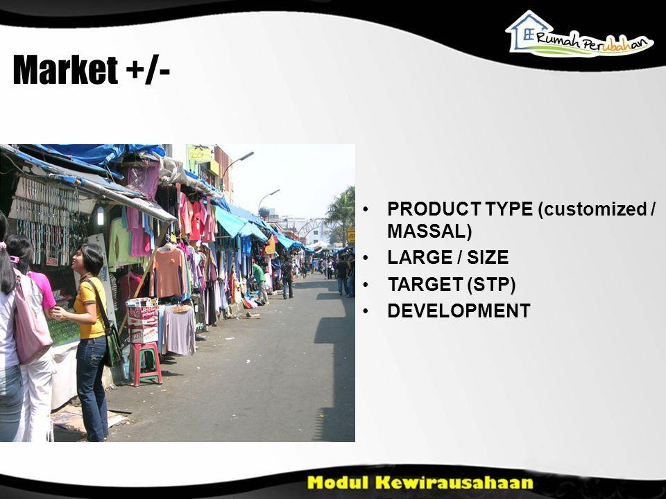 PRODUCT TYPE (customized / MASSAL) LARGE / SIZE TARGET (STP) DEVELOPMENT Market +/-