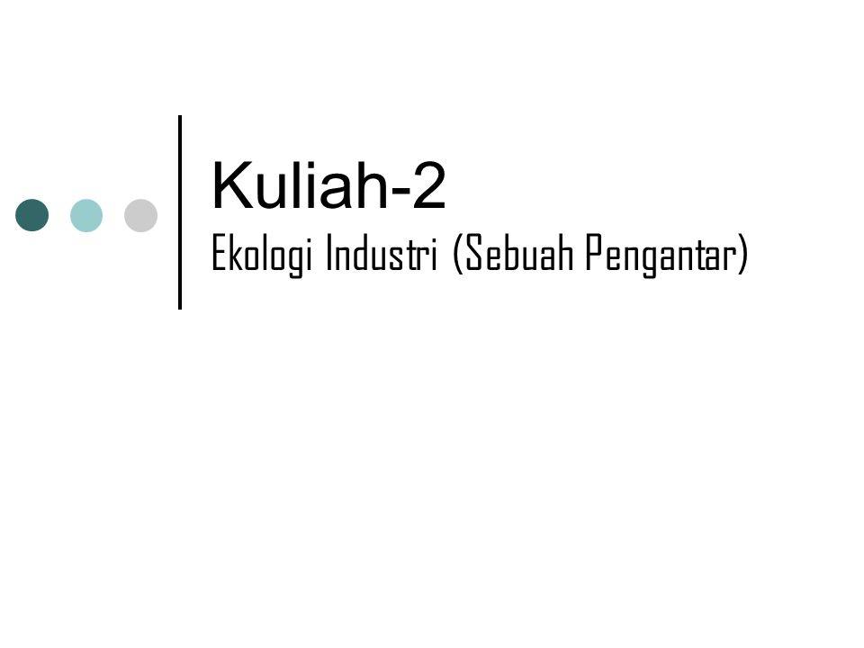 Isi kuliah: Latar belakang Sejarah singkat Tujuan Ekologi Industri (EI) Konsep kunci Strategi untuk reduksi dampak lingkungan