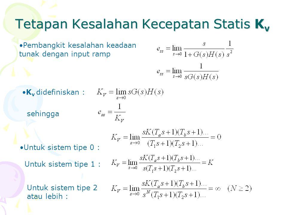 Tetapan Kesalahan Kecepatan Statis K v Pembangkit kesalahan keadaan tunak dengan input ramp K v didefiniskan : sehingga Untuk sistem tipe 0 : Untuk si