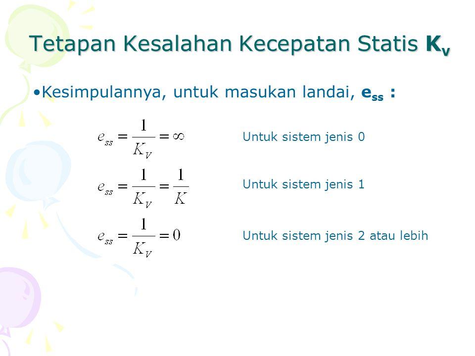 Tetapan Kesalahan Kecepatan Statis K v Kesimpulannya, untuk masukan landai, e ss : Untuk sistem jenis 0 Untuk sistem jenis 1 Untuk sistem jenis 2 atau