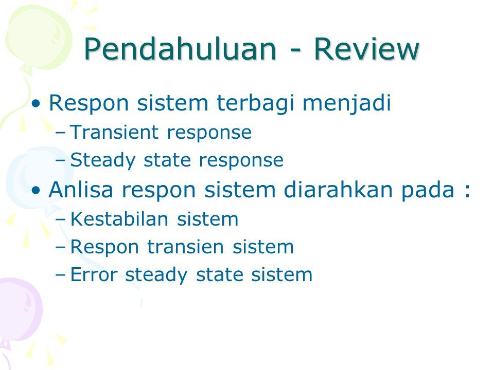 Pendahuluan - Review Respon sistem terbagi menjadi –Transient response –Steady state response Anlisa respon sistem diarahkan pada : –Kestabilan sistem
