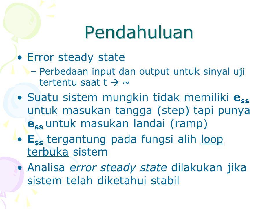 Pendahuluan Error steady state –Perbedaan input dan output untuk sinyal uji tertentu saat t  ~ Suatu sistem mungkin tidak memiliki e ss untuk masukan