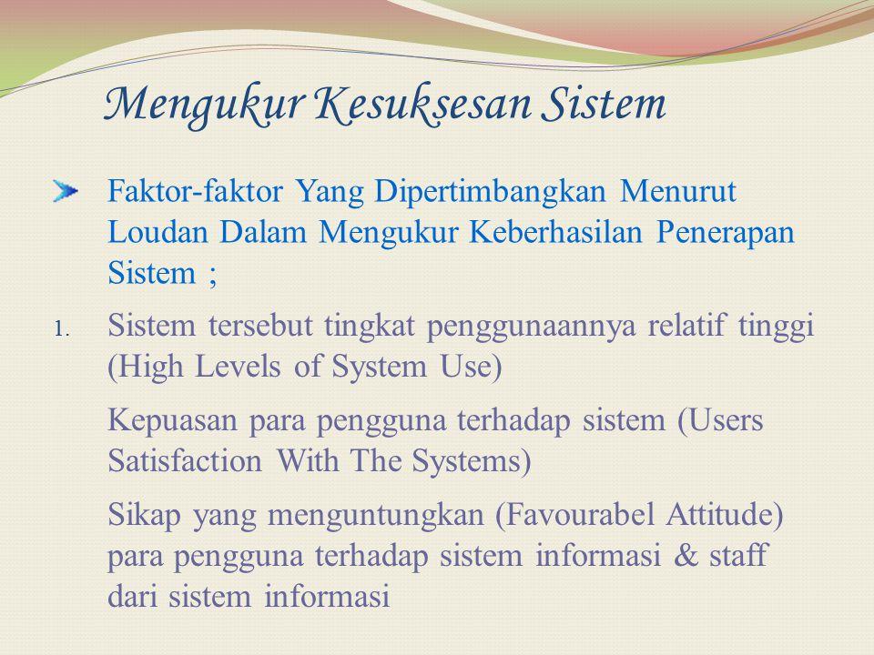 Mengukur Kesuksesan Sistem Faktor-faktor Yang Dipertimbangkan Menurut Loudan Dalam Mengukur Keberhasilan Penerapan Sistem ; 1. Sistem tersebut tingkat