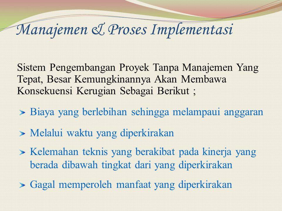 Manajemen & Proses Implementasi Sistem Pengembangan Proyek Tanpa Manajemen Yang Tepat, Besar Kemungkinannya Akan Membawa Konsekuensi Kerugian Sebagai