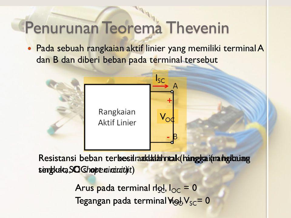 Saat beban resistansi antara hubung singkat dan terbuka hubungan arus tegangan mengikuti sifat linier Catatan Tambahan Teorema Thevenin + - V OC I SC I AB = 0 V AB = V OC I AB = I SC V AB = 0 Beban terbukaHubung Singkat Kurva Arus-Tegangan pada terminal A dan B V AB I AB 0 V OC I SC Pada rangkaian aktif linier hubungan arus tegangan bersifat linier Kurva arus tegangan saat resistansi beban antara hubung singkat dan terbuka