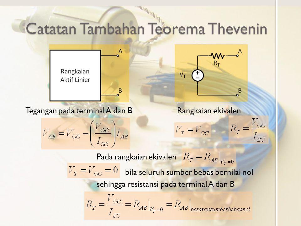 Catatan Tambahan Teorema Thevenin Tegangan pada terminal A dan BRangkaian ekivalen bila seluruh sumber bebas bernilai nol sehingga resistansi pada ter