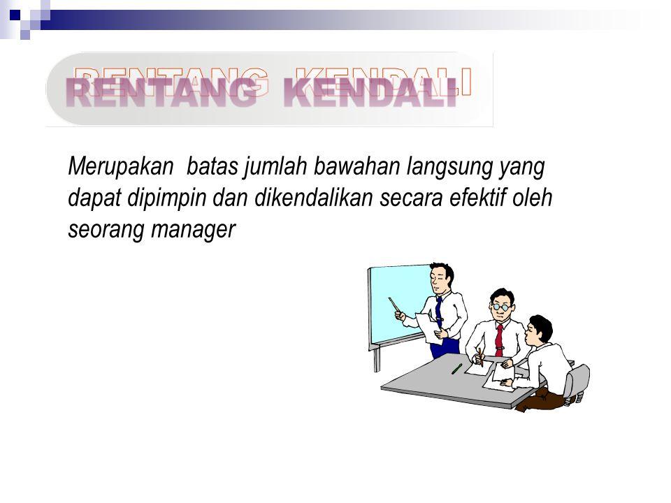 Merupakan batas jumlah bawahan langsung yang dapat dipimpin dan dikendalikan secara efektif oleh seorang manager