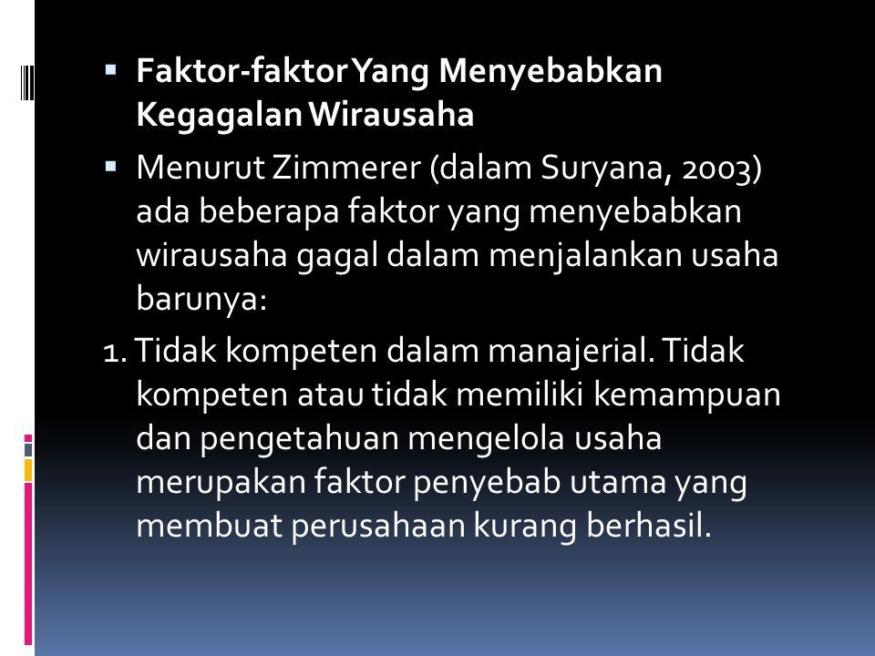  Faktor-faktor Yang Menyebabkan Kegagalan Wirausaha  Menurut Zimmerer (dalam Suryana, 2003) ada beberapa faktor yang menyebabkan wirausaha gagal dal