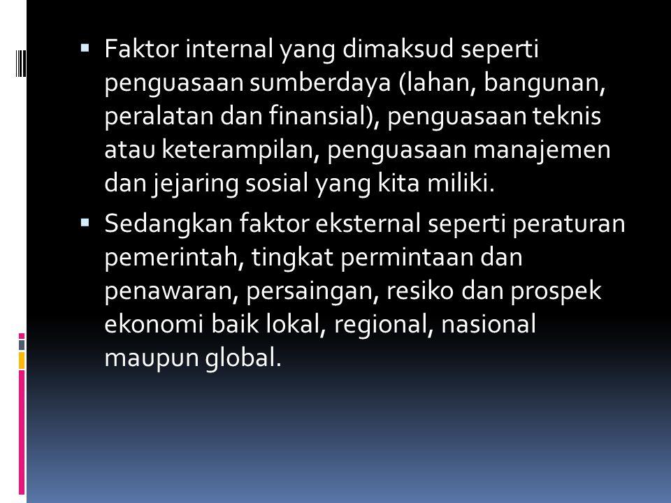  Faktor internal yang dimaksud seperti penguasaan sumberdaya (lahan, bangunan, peralatan dan finansial), penguasaan teknis atau keterampilan, penguasaan manajemen dan jejaring sosial yang kita miliki.