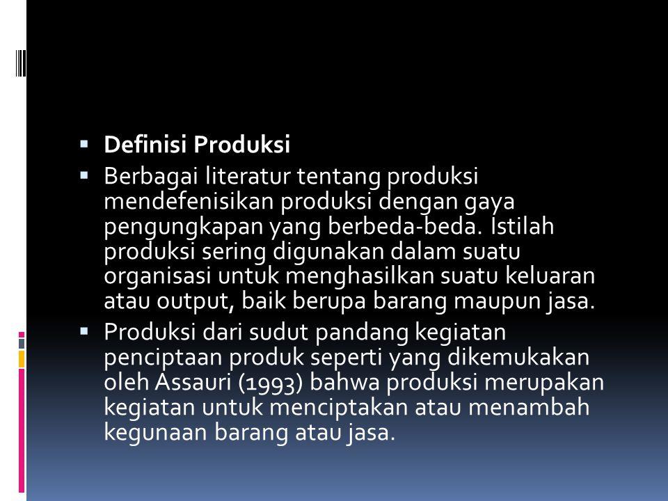 Definisi Produksi  Berbagai literatur tentang produksi mendefenisikan produksi dengan gaya pengungkapan yang berbeda-beda. Istilah produksi sering
