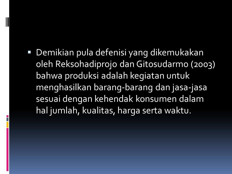  Demikian pula defenisi yang dikemukakan oleh Reksohadiprojo dan Gitosudarmo (2003) bahwa produksi adalah kegiatan untuk menghasilkan barang-barang d