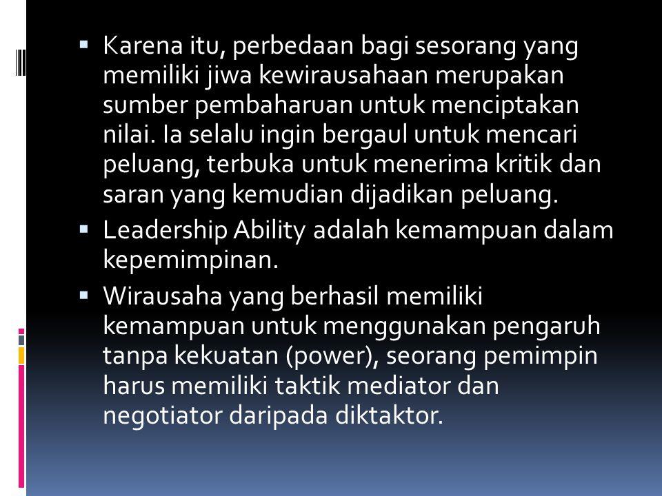  Karena itu, perbedaan bagi sesorang yang memiliki jiwa kewirausahaan merupakan sumber pembaharuan untuk menciptakan nilai.