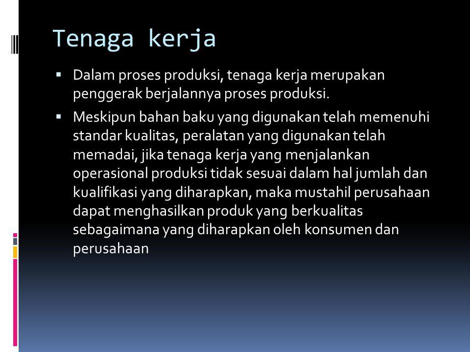 Tenaga kerja  Dalam proses produksi, tenaga kerja merupakan penggerak berjalannya proses produksi.  Meskipun bahan baku yang digunakan telah memenuh