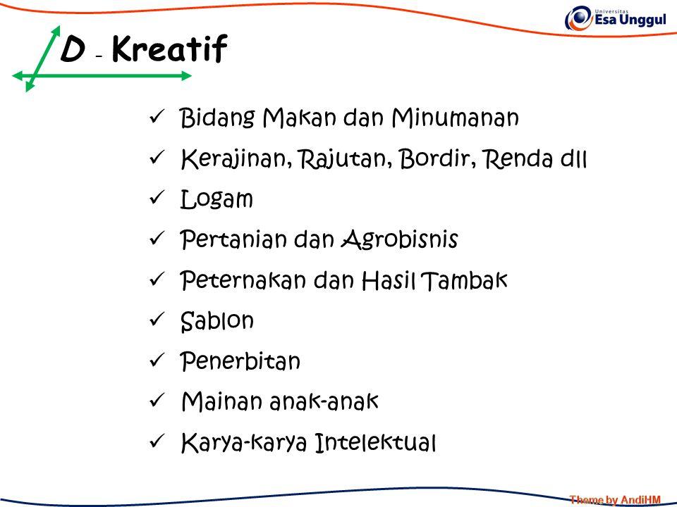 D - Kreatif Bidang Makan dan Minumanan Kerajinan, Rajutan, Bordir, Renda dll Logam Pertanian dan Agrobisnis Peternakan dan Hasil Tambak Sablon Penerbi