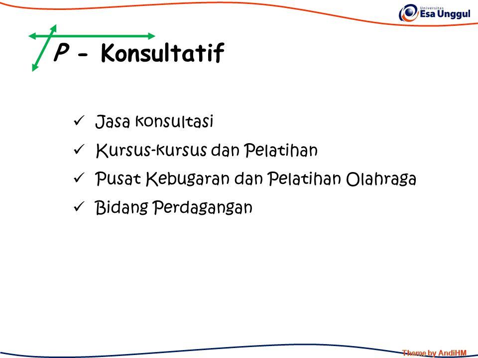 P - Konsultatif Jasa konsultasi Kursus-kursus dan Pelatihan Pusat Kebugaran dan Pelatihan Olahraga Bidang Perdagangan