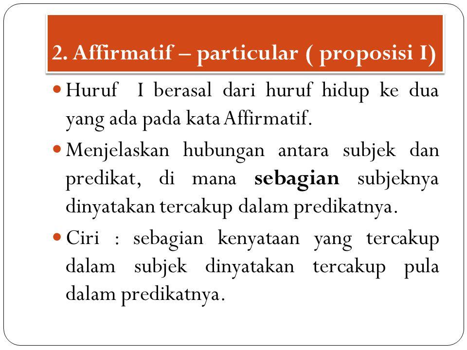 Huruf I berasal dari huruf hidup ke dua yang ada pada kata Affirmatif. Menjelaskan hubungan antara subjek dan predikat, di mana sebagian subjeknya din