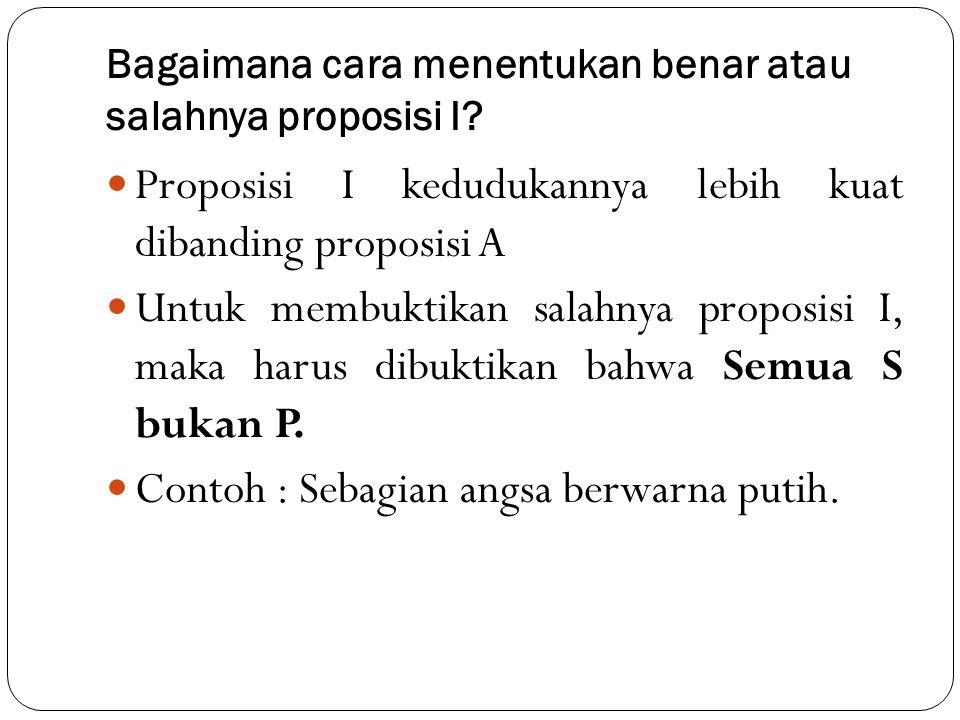 Bagaimana cara menentukan benar atau salahnya proposisi I? Proposisi I kedudukannya lebih kuat dibanding proposisi A Untuk membuktikan salahnya propos