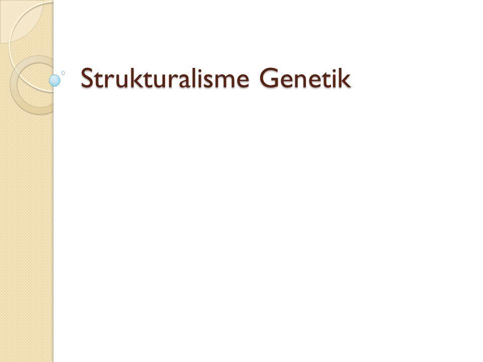 Latar belakang Strukturalisme genetik merupakan suatu teori yang dimunculkan atas reaksi terhadap kemandegan (stagnasi) teori strukturalisme.