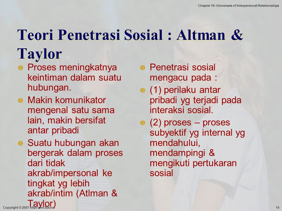 Chapter 10: Universals of Interpersonal Relationships Copyright © 2007 Allyn and Bacon15 Teori Penetrasi Sosial : Altman & Taylor  Proses meningkatny