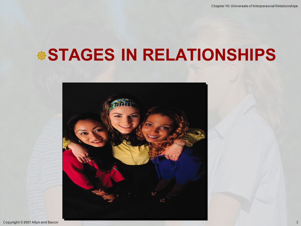 Chapter 10: Universals of Interpersonal Relationships Copyright © 2007 Allyn and Bacon3  STAGES IN RELATIONSHIPS
