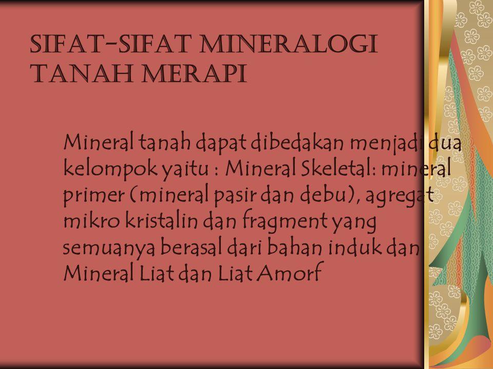 Sifat-sifat Mineralogi Tanah Merapi Mineral tanah dapat dibedakan menjadi dua kelompok yaitu : Mineral Skeletal: mineral primer (mineral pasir dan deb