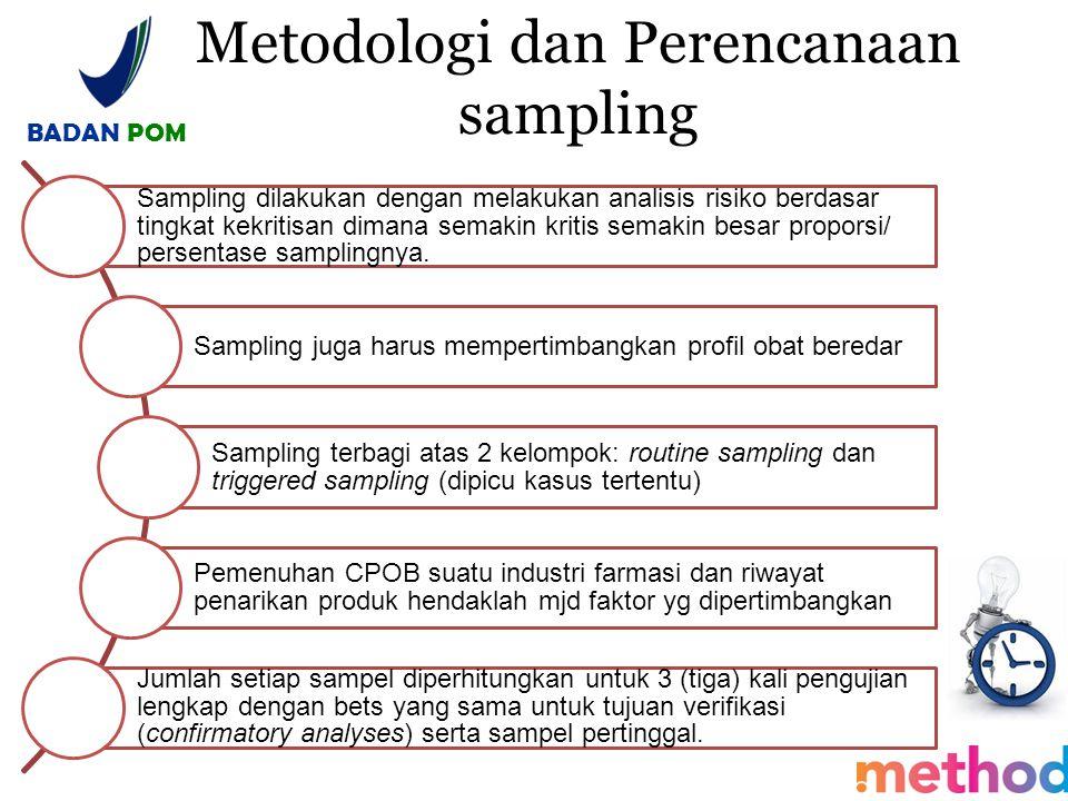 Metodologi dan Perencanaan sampling BADAN POM Sampling dilakukan dengan melakukan analisis risiko berdasar tingkat kekritisan dimana semakin kritis se