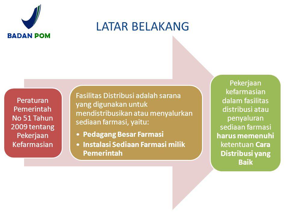Peraturan Pemerintah No 51 Tahun 2009 tentang Pekerjaan Kefarmasian Fasilitas Distribusi adalah sarana yang digunakan untuk mendistribusikan atau meny