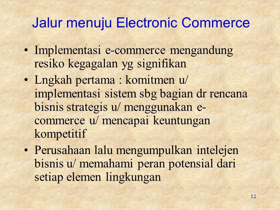 12 Jalur menuju Electronic Commerce Implementasi e-commerce mengandung resiko kegagalan yg signifikan Lngkah pertama : komitmen u/ implementasi sistem