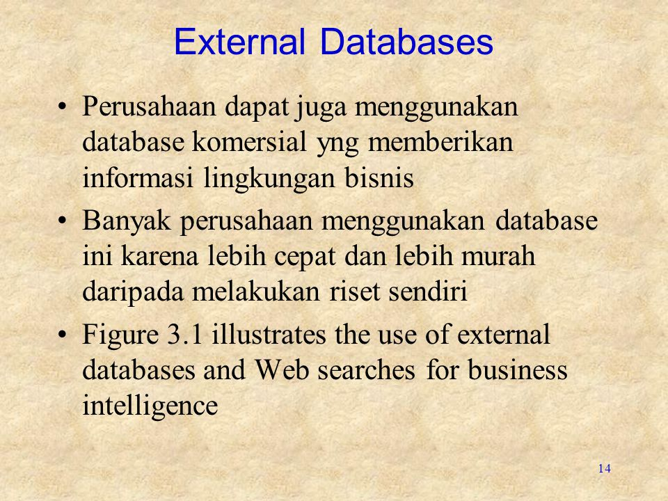 14 External Databases Perusahaan dapat juga menggunakan database komersial yng memberikan informasi lingkungan bisnis Banyak perusahaan menggunakan database ini karena lebih cepat dan lebih murah daripada melakukan riset sendiri Figure 3.1 illustrates the use of external databases and Web searches for business intelligence