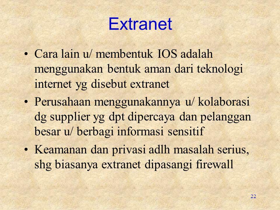 22 Extranet Cara lain u/ membentuk IOS adalah menggunakan bentuk aman dari teknologi internet yg disebut extranet Perusahaan menggunakannya u/ kolaborasi dg supplier yg dpt dipercaya dan pelanggan besar u/ berbagi informasi sensitif Keamanan dan privasi adlh masalah serius, shg biasanya extranet dipasangi firewall