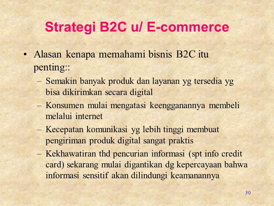 30 Strategi B2C u/ E-commerce Alasan kenapa memahami bisnis B2C itu penting:: –Semakin banyak produk dan layanan yg tersedia yg bisa dikirimkan secara