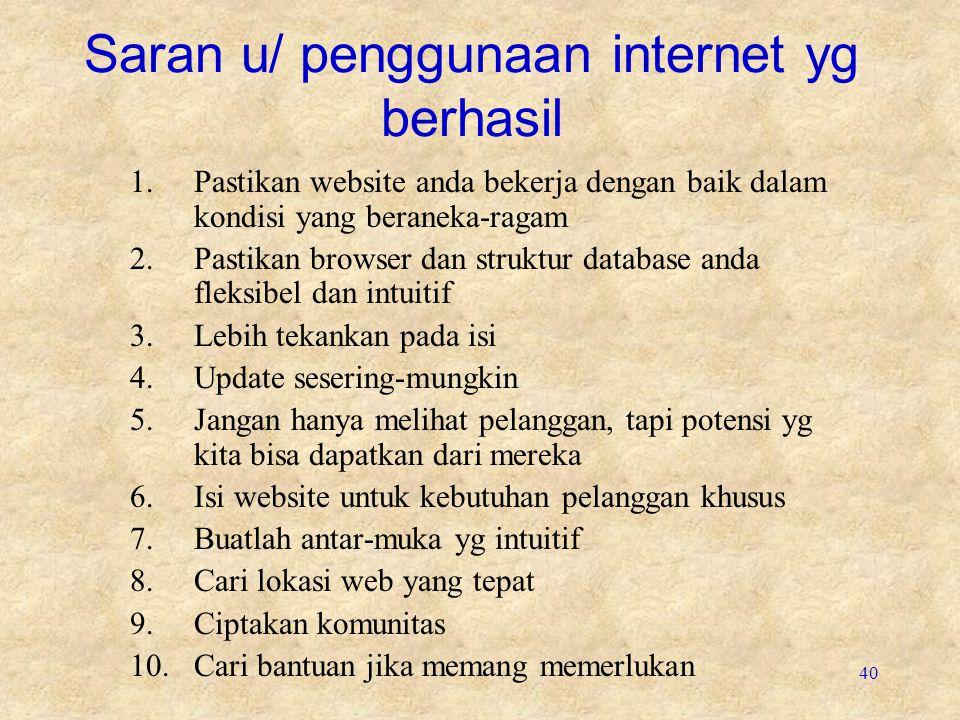 40 Saran u/ penggunaan internet yg berhasil 1.Pastikan website anda bekerja dengan baik dalam kondisi yang beraneka-ragam 2.Pastikan browser dan struk