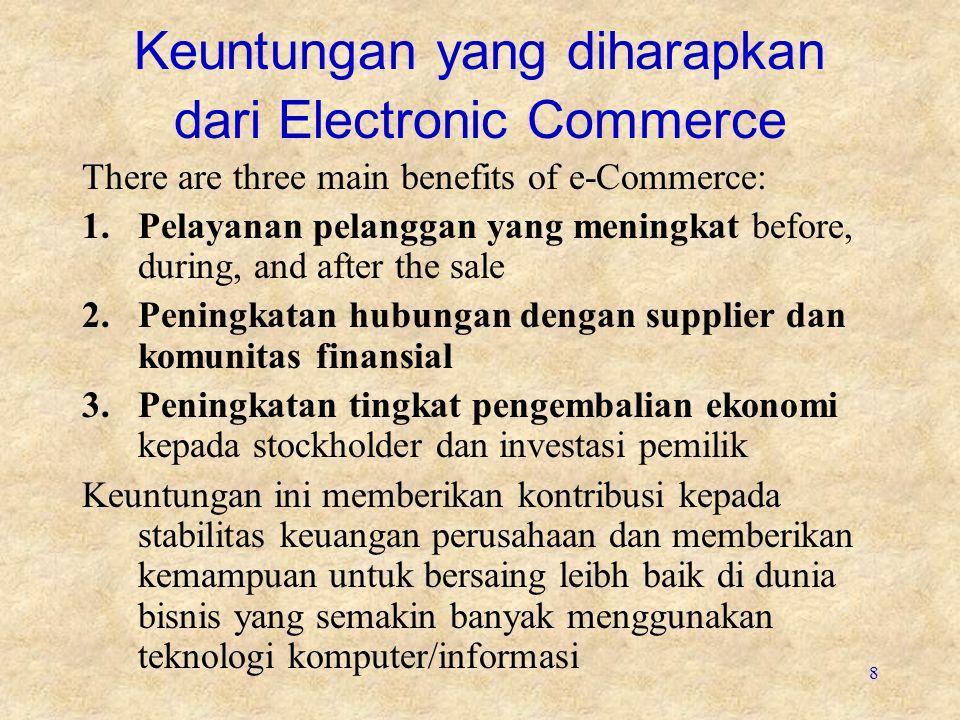9 Electronic Commerce Constraints 3 batasan e-commerce : 1.Biaya yang tinggi 2.Perhatian kepada faktor keamanan 3.Software yang belum matang atau tidak tersedia Masing2 batasan ini sedang dihadapi dengan adanya kebutuhan IT dan IS terhadap e-commerce yg semakin populer dan biaya sumber daya komputer yang semakin turun