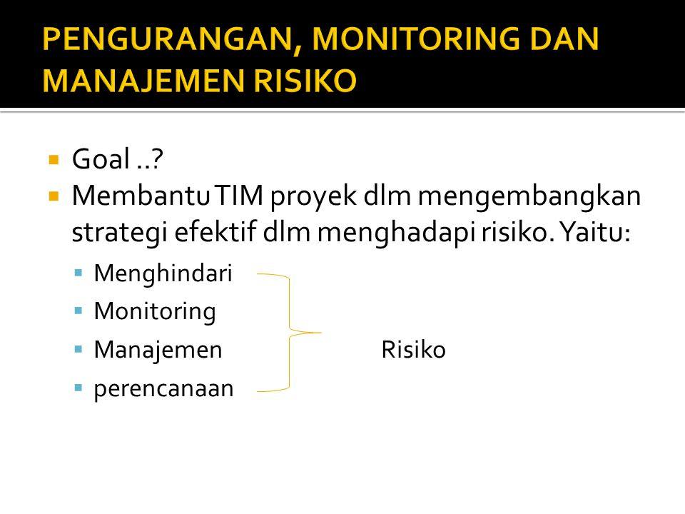  Goal..?  Membantu TIM proyek dlm mengembangkan strategi efektif dlm menghadapi risiko. Yaitu:  Menghindari  Monitoring  Manajemen Risiko  peren