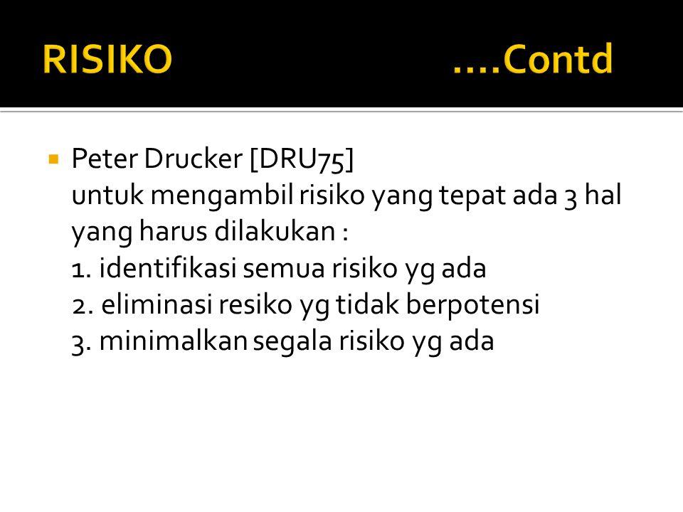  Peter Drucker [DRU75] untuk mengambil risiko yang tepat ada 3 hal yang harus dilakukan : 1. identifikasi semua risiko yg ada 2. eliminasi resiko yg