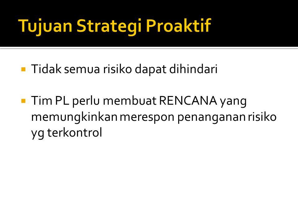  Tidak semua risiko dapat dihindari  Tim PL perlu membuat RENCANA yang memungkinkan merespon penanganan risiko yg terkontrol