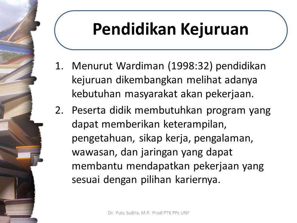 Pendidikan Kejuruan 1.Menurut Wardiman (1998:32) pendidikan kejuruan dikembangkan melihat adanya kebutuhan masyarakat akan pekerjaan. 2.Peserta didik