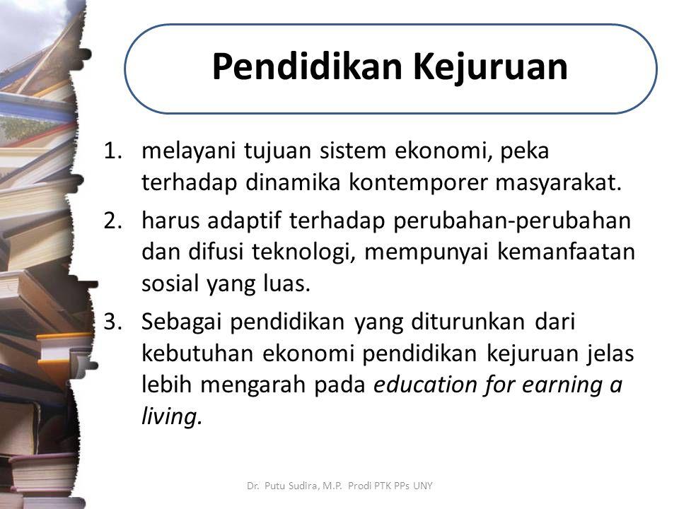Pendidikan Kejuruan 1.melayani tujuan sistem ekonomi, peka terhadap dinamika kontemporer masyarakat. 2.harus adaptif terhadap perubahan-perubahan dan