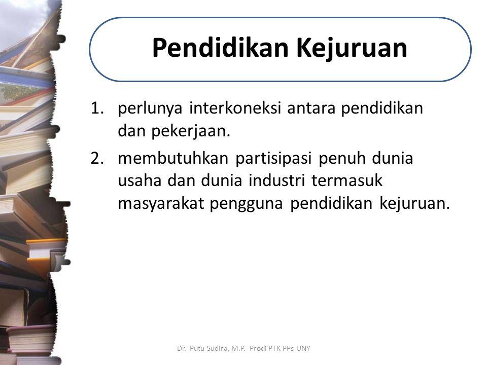 Pendidikan Kejuruan 1.perlunya interkoneksi antara pendidikan dan pekerjaan. 2.membutuhkan partisipasi penuh dunia usaha dan dunia industri termasuk m