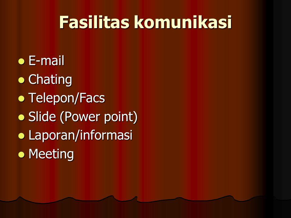 Fasilitas komunikasi E-mail E-mail Chating Chating Telepon/Facs Telepon/Facs Slide (Power point) Slide (Power point) Laporan/informasi Laporan/informa