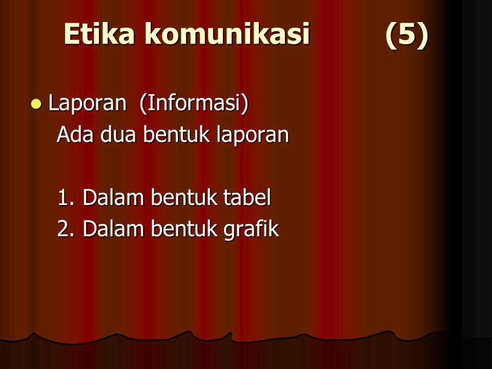 Etika komunikasi (5) Laporan (Informasi) Laporan (Informasi) Ada dua bentuk laporan Ada dua bentuk laporan 1. Dalam bentuk tabel 1. Dalam bentuk tabel