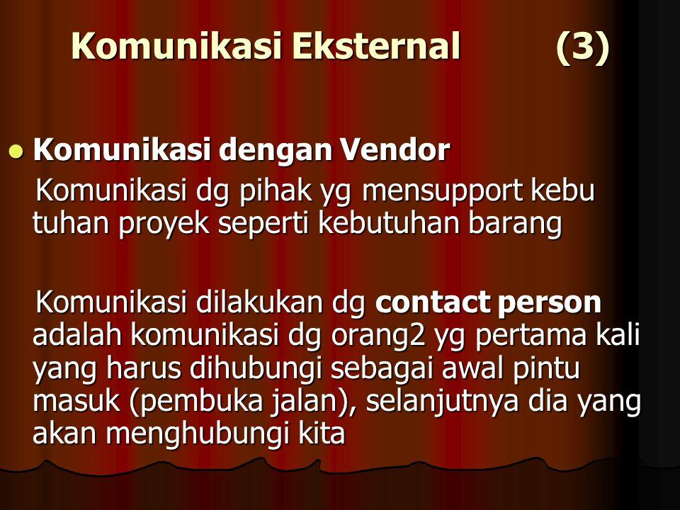 Komunikasi Eksternal (3) Komunikasi dengan Vendor Komunikasi dengan Vendor Komunikasi dg pihak yg mensupport kebu tuhan proyek seperti kebutuhan baran
