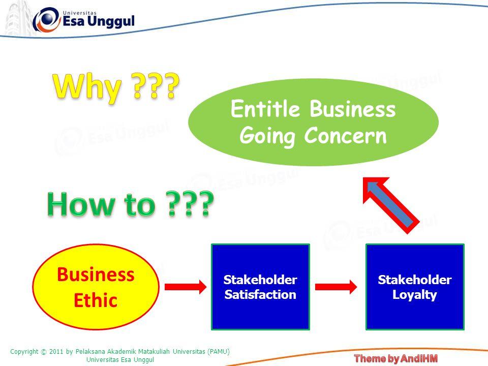 Copyright © 2011 by Pelaksana Akademik Matakuliah Universitas (PAMU) Universitas Esa Unggul Entitle Business Going Concern Business Ethic Stakeholder