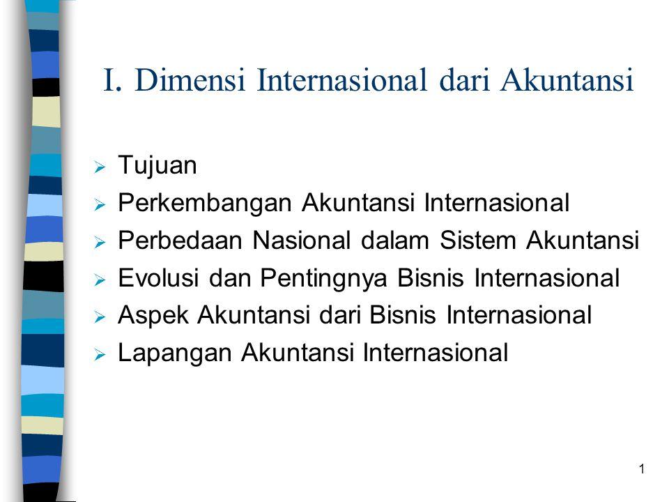 1 I. Dimensi Internasional dari Akuntansi  Tujuan  Perkembangan Akuntansi Internasional  Perbedaan Nasional dalam Sistem Akuntansi  Evolusi dan Pe