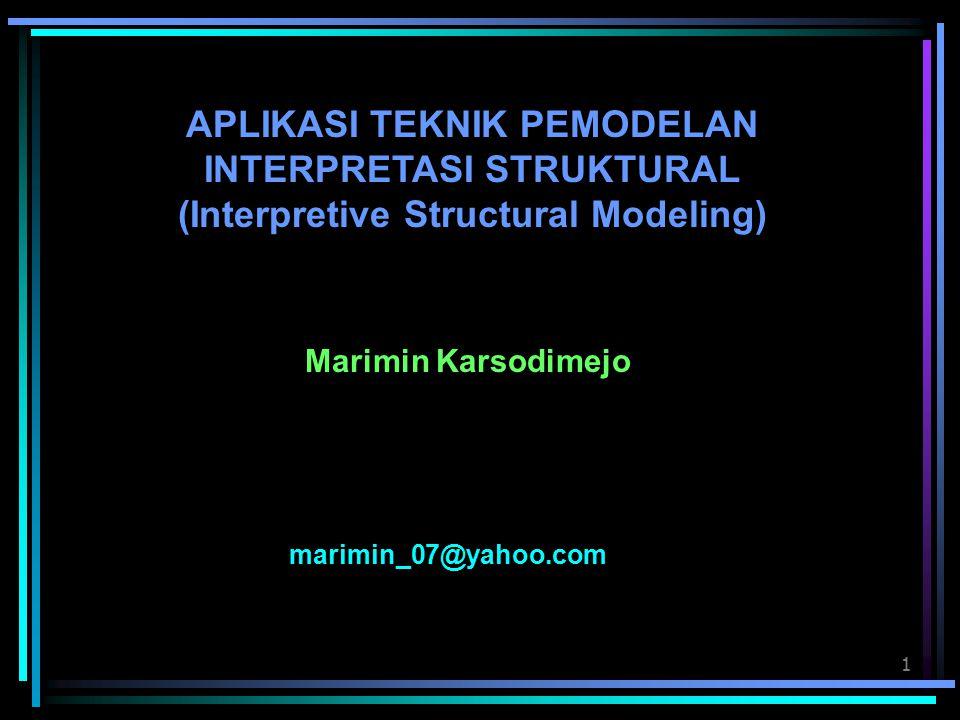 1 APLIKASI TEKNIK PEMODELAN INTERPRETASI STRUKTURAL (Interpretive Structural Modeling) Marimin Karsodimejo marimin_07@yahoo.com
