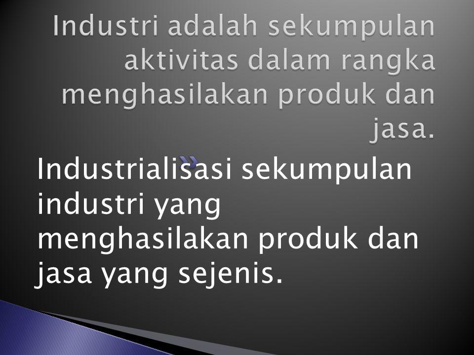 Industrialisasi sekumpulan industri yang menghasilakan produk dan jasa yang sejenis.