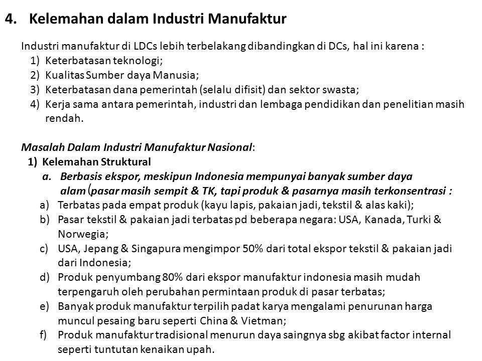 4.Kelemahan dalam Industri Manufaktur Industri manufaktur di LDCs lebih terbelakang dibandingkan di DCs, hal ini karena : 1)Keterbatasan teknologi; 2)