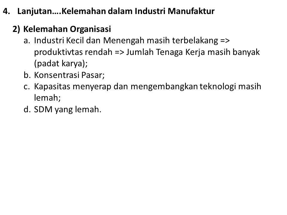 4.Lanjutan….Kelemahan dalam Industri Manufaktur 2)Kelemahan Organisasi a.Industri Kecil dan Menengah masih terbelakang => produktivtas rendah => Jumla