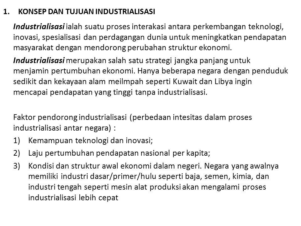 1.KONSEP DAN TUJUAN INDUSTRIALISASI Industrialisasi ialah suatu proses interakasi antara perkembangan teknologi, inovasi, spesialisasi dan perdagangan